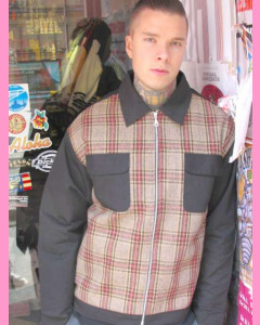 Black 40´s Two Pocket Hot Rod Jacket with checkered  mustard front panels
