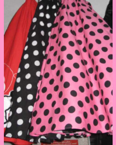 Pink 50`s Circular Skirt with black polka dots