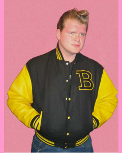 Baseball Jacket. Black melton body and yellow leather sleeves
