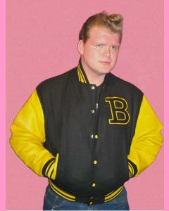 Baseball Jacket. Black melton body and yellow leather sleeves