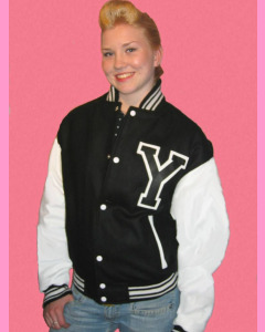 Black Baseball Jacket with white PVC sleeves