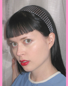 Black Head Band with white polka dots