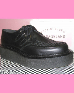 Black Leather Crepe Sole Brothel Creeper