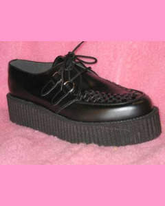 Black Leather D-Ring High Sole Stomppers