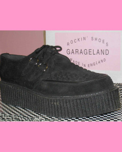 Black Suede D-Ring High Sole Stomppers