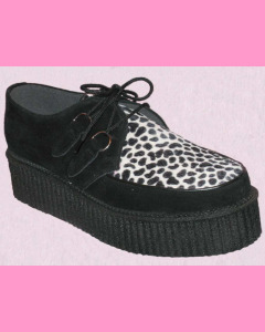 Black Suede D-Ring High Sole Stomppers with black and white leopard