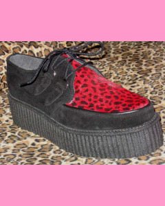 Black Suede D-Ring High Sole Stomppers with red leopard