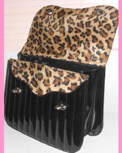 Black Vinyl Leopard Bag