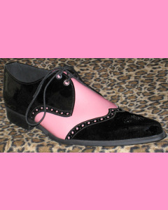 Black and Pink Patent Leather Brogue Winkle-Pickers
