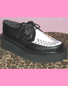 Black and White Leather Crepe Sole Brothel Creeper