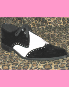 Black and White Patent Leather Brogue Winkle-Pickers