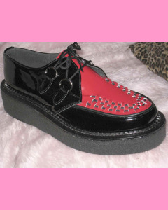 Black and red patent leather Crepe Sole Brothel Creeper