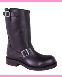 Black greasy leather biker boot with steel toe