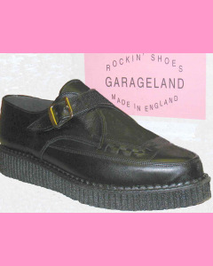 Black leather pointed toe buckle creeper
