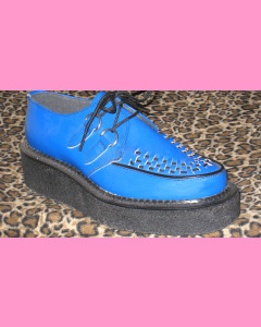 Blue Leather Crepe Sole Brothel Creeper