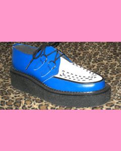 Blue and White Leather Crepe Sole Brothel Creeper