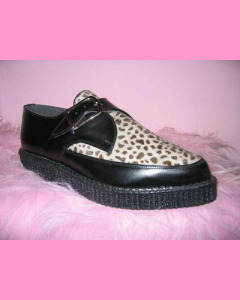 Black leather and leopard Pointed Creepers