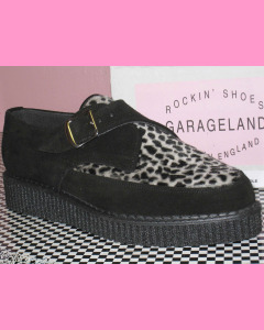 Black suede and leopard pointed creepers