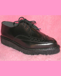 Black leather pointed creepers with laces