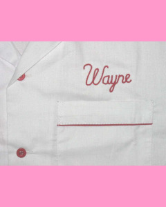 Embroidered Wayne above the left pocket