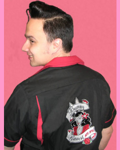 Black and Red Bunny Ranch Bowling Shirt