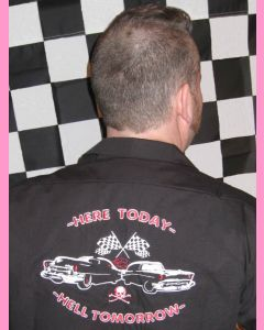 Large racing embroidery on the back