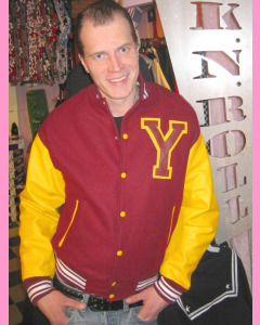 Maroon baseball jacket with yellow leather sleeves