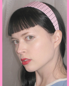 Pink Head Band with black polka dots