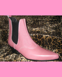 Pink Patent Leather Chelsea Boots