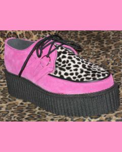 Pink Suede  D-Ring High Sole Creepers with leopard