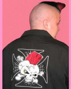 Psycho Iron Cross embroidery above front pocket