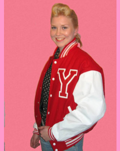 Red Baseball Jacket with white PVC sleeves