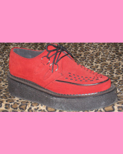 Red Suede Crepe Sole Brothel Creeper