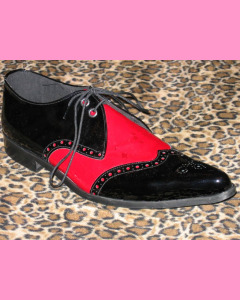 Red and Black Patent Leather Brogue Winkle-Pickers