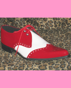 Red and White Patent Leather Brogue Winkle-Pickers