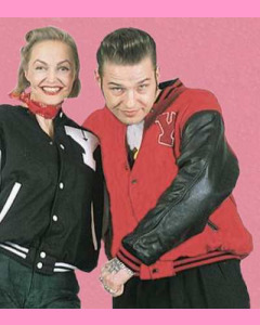Red baseball jacket with black leather sleeves