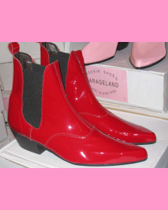 Red patent leather Chelsea boots with cuban heel