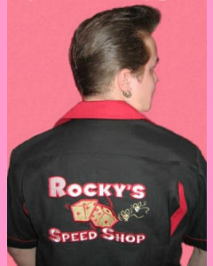 Rocky's Speed Shop Bowling Shirt. Large embroidery on the back.