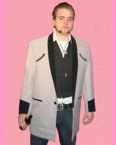 Teddy Boy Drape. Light grey body with black velvet trim