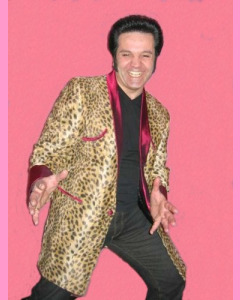 Teddy Boy Leopard Drape. Black and yellow fake fur leopard body and burgundy satin trimmings