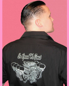 V-8 embroidery on the back