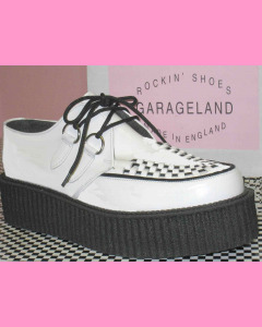 White Leather D-Ring High Sole Stomppers