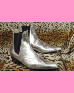 Silver Chelsea Boots with Cuban heel