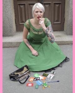 Green Bettie Page Alika Circle Dress