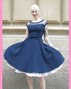 Navy Bettie Page Alika Circle Dress