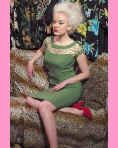 Green Bettie Page Alika Pencil Dress