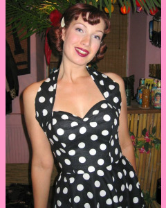 Black 50´s Halterneck Circular Dress With Large White Polka Dots
