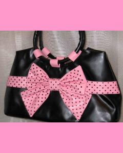 Black Polka Dot Bag with pink bow