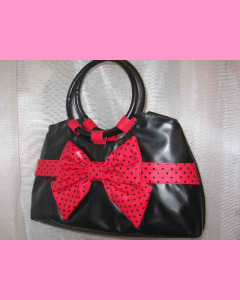 Black Bow Bag with red bow