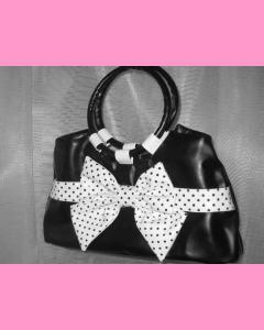 Black Polka Dot Bag with white bow